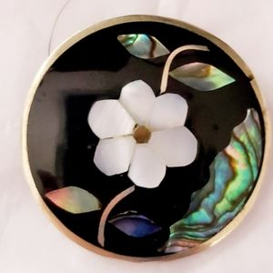Alpaca Abalone Floral Brooch/Pendent